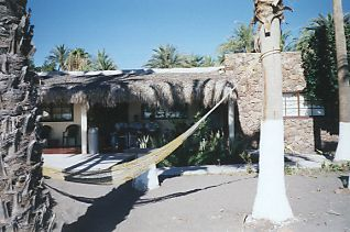 hotel on the beach in Loreto with a hammock